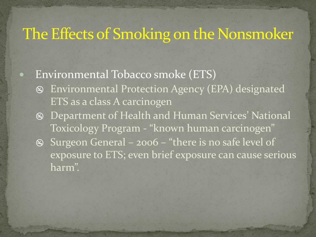 The Effects of Smoking on the Nonsmoker