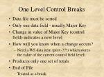 one level control breaks