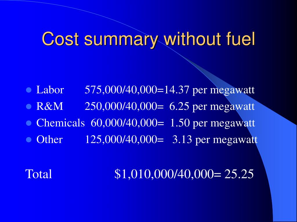 Cost summary without fuel