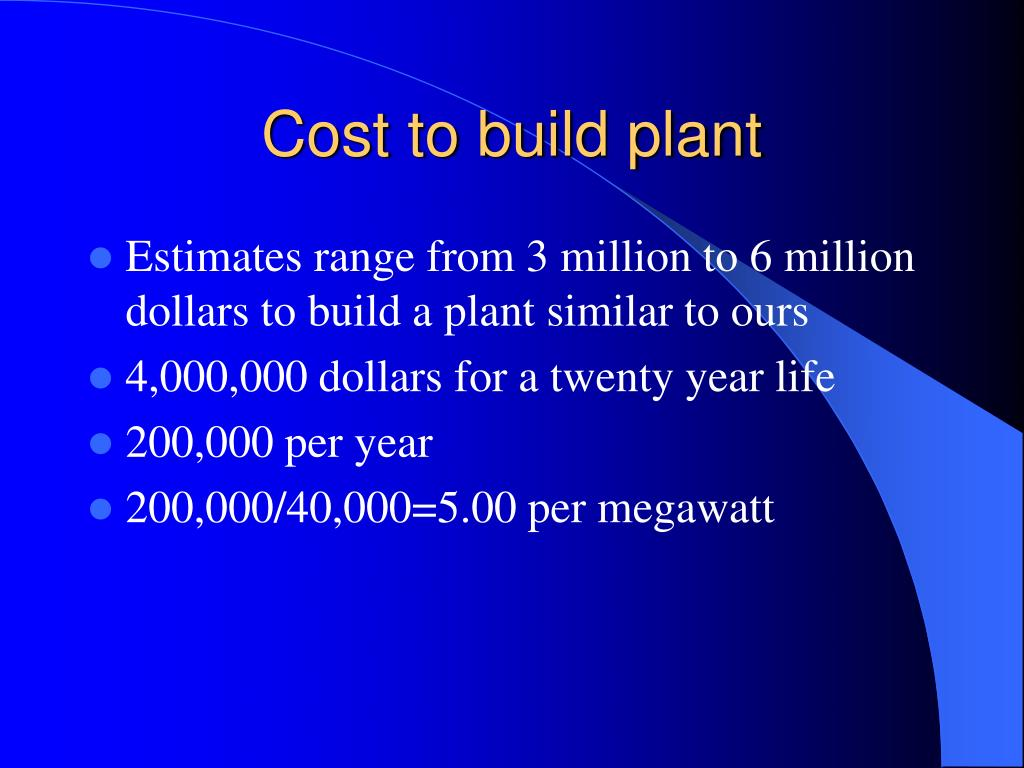 Cost to build plant