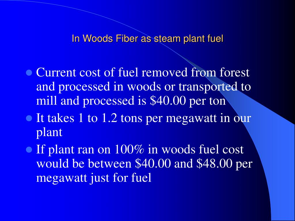 In Woods Fiber as steam plant fuel