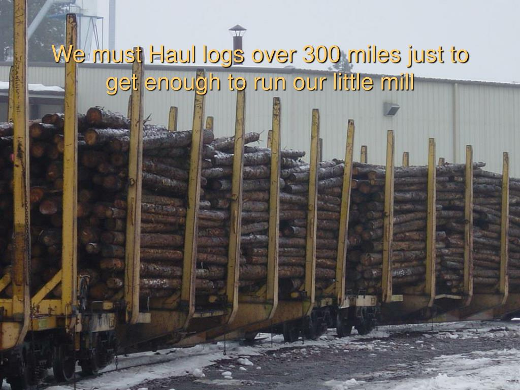 We must Haul logs over 300 miles just to get enough to run our little mill