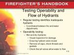 testing operability and flow of hydrants