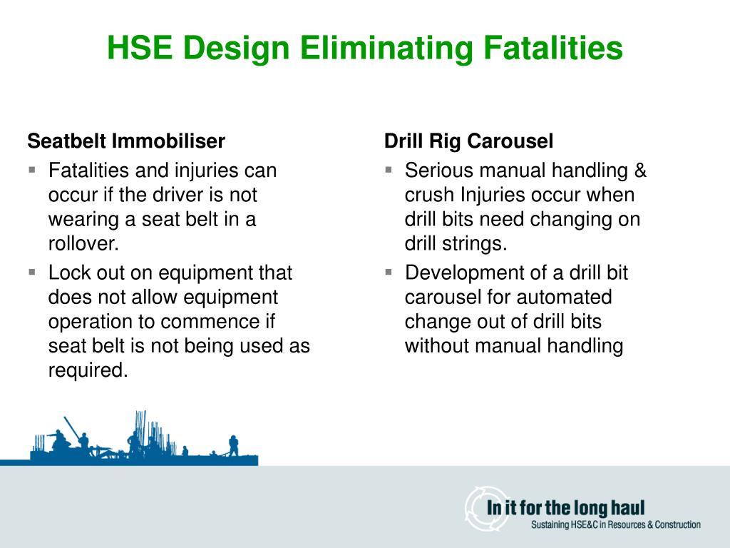 HSE Design Eliminating Fatalities