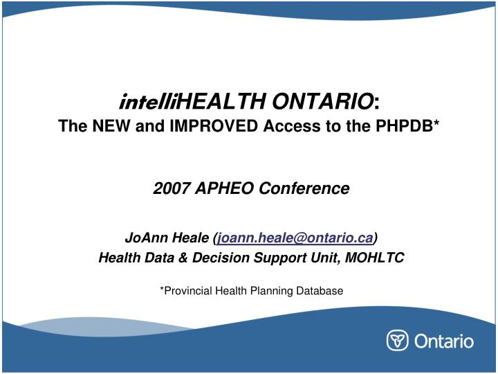 intelli health ontario the new and improved access to the phpdb n.