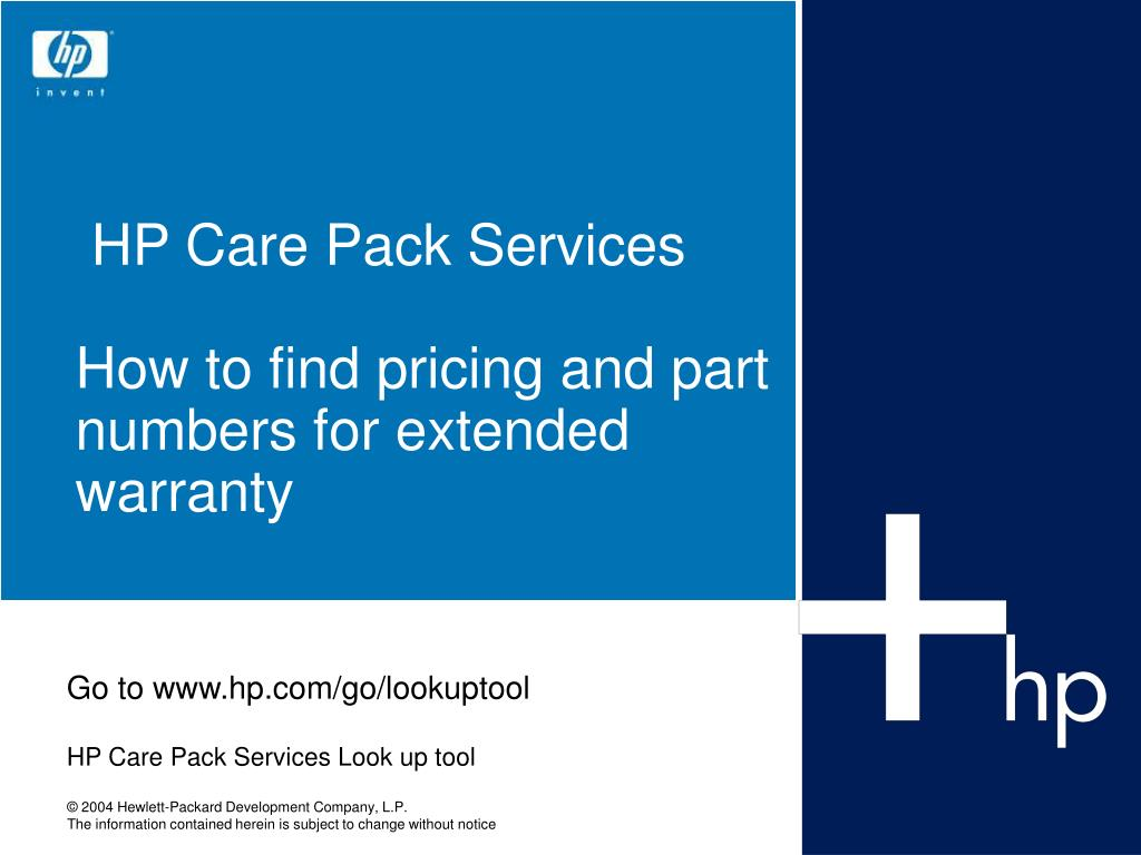 hp care pack services how to find pricing and part numbers for extended warranty