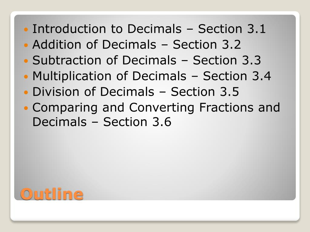 Introduction to Decimals – Section 3.1