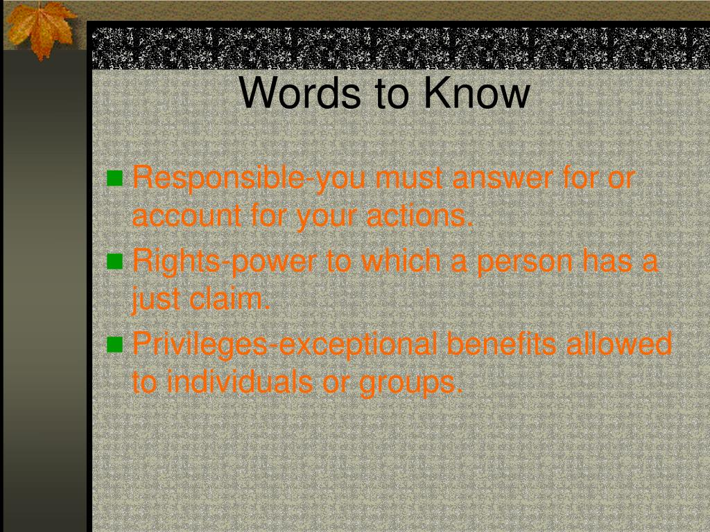 Words to Know
