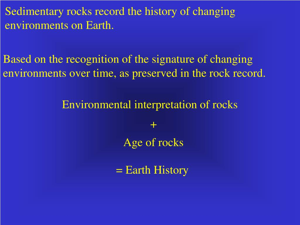 Sedimentary rocks record the history of changing environments on Earth.
