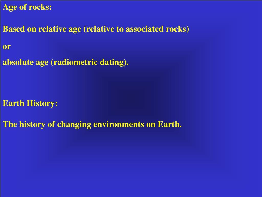Age of rocks: