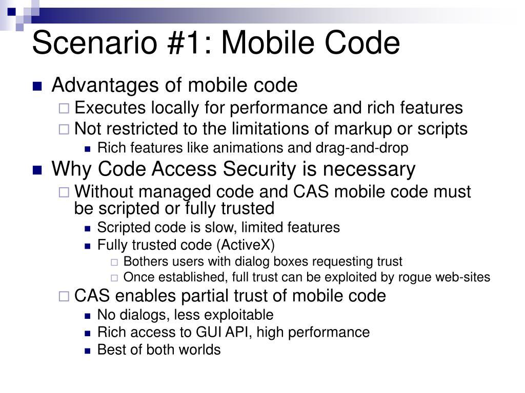 Scenario #1: Mobile Code