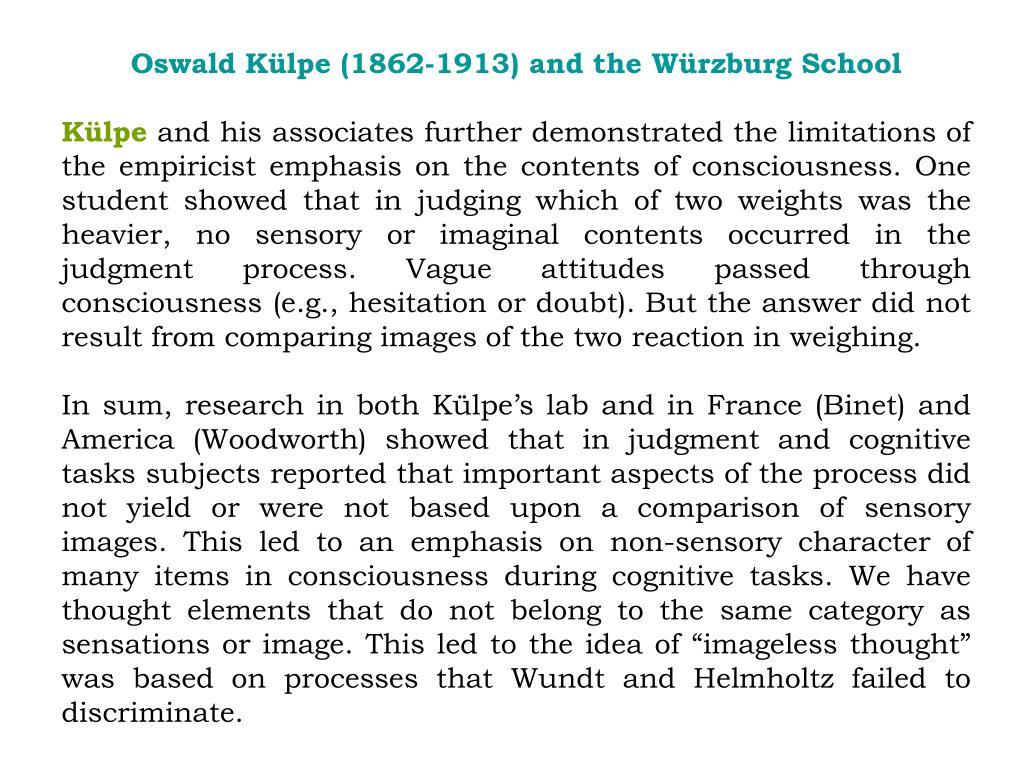 Oswald Külpe (1862-1913) and the Würzburg School