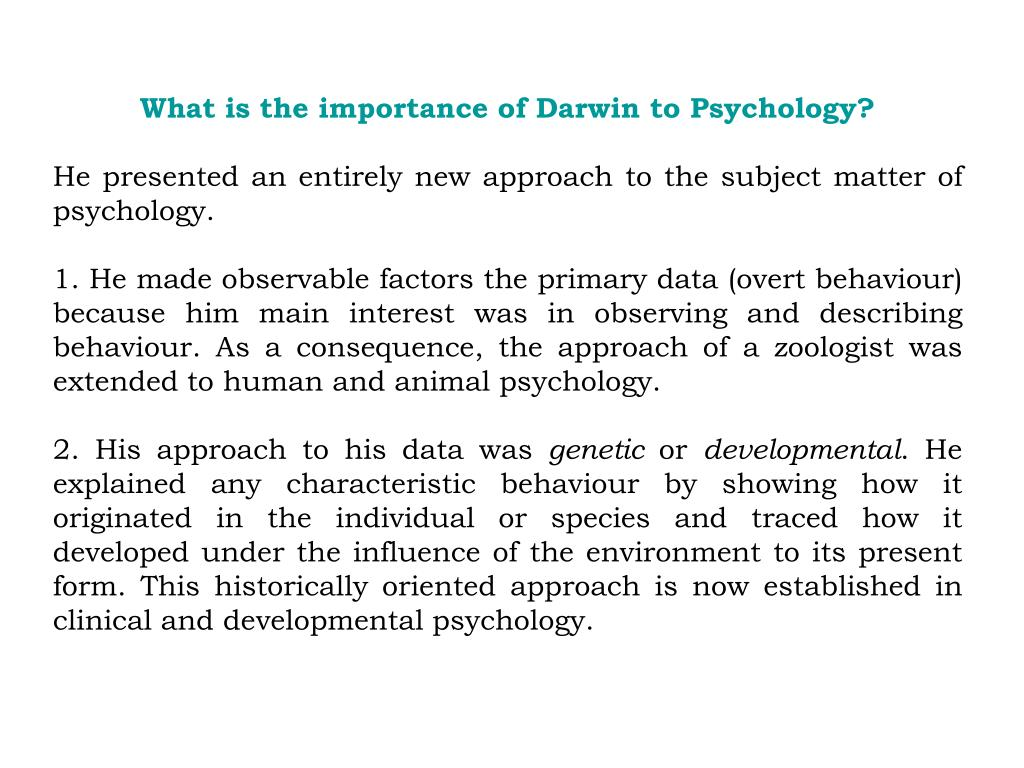What is the importance of Darwin to Psychology?