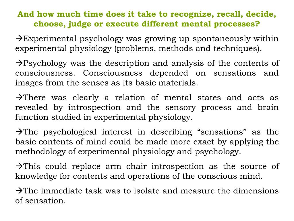 And how much time does it take to recognize, recall, decide, choose, judge or execute different mental processes?