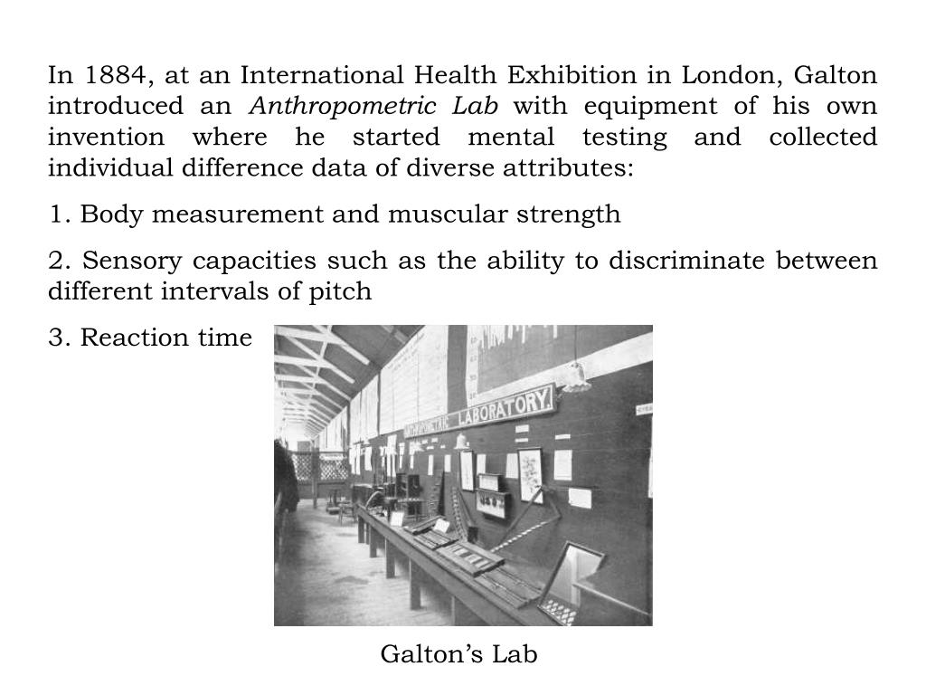 In 1884, at an International Health Exhibition in London, Galton introduced an