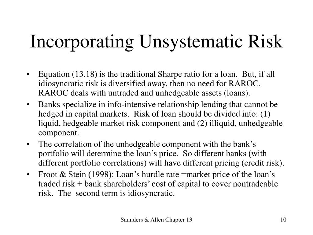 Incorporating Unsystematic Risk