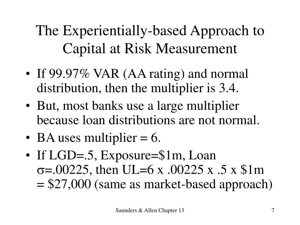 The Experientially-based Approach to Capital at Risk Measurement