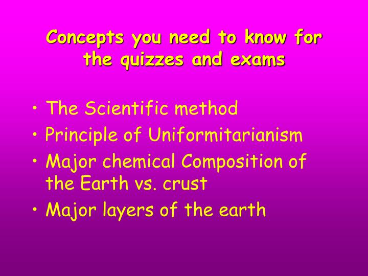 Concepts you need to know for the quizzes and exams