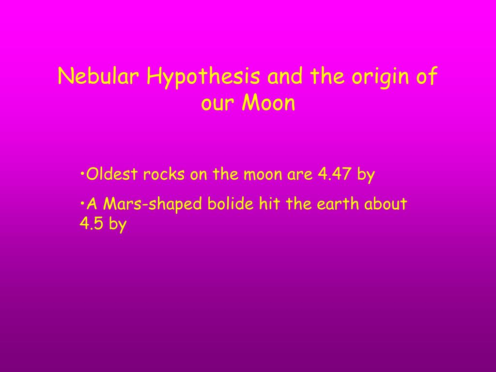 Nebular Hypothesis and the origin of our Moon