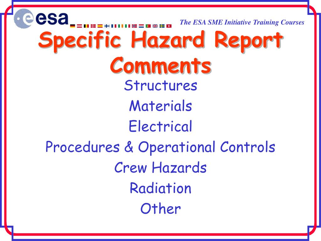 specific hazard report comments l.