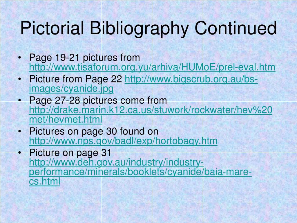 Pictorial Bibliography Continued