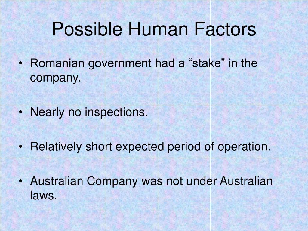 Possible Human Factors