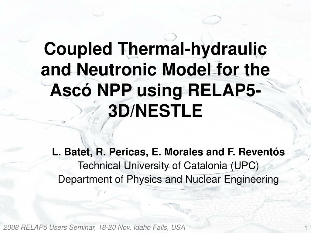 coupled thermal hydraulic and neutronic model for the asc npp using relap5 3d nestle