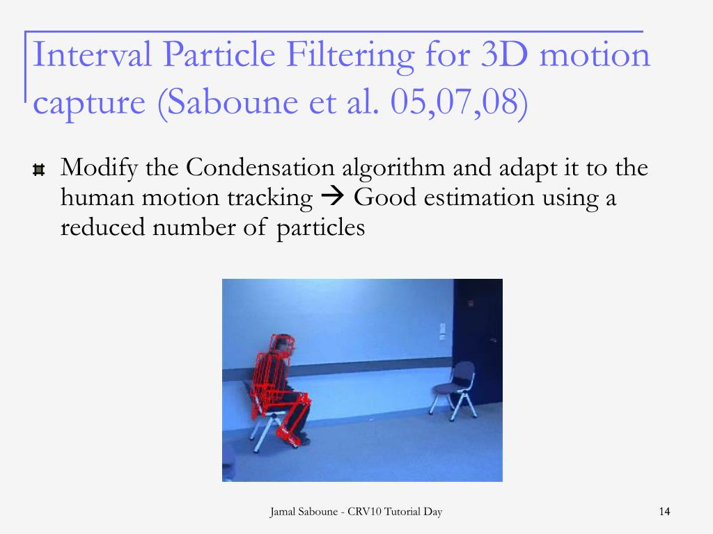 Interval Particle Filtering for 3D motion capture (Saboune et al. 05,07,08)