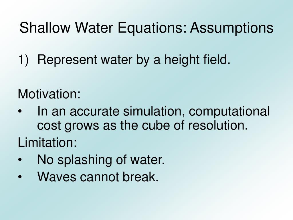 Shallow Water Equations: Assumptions