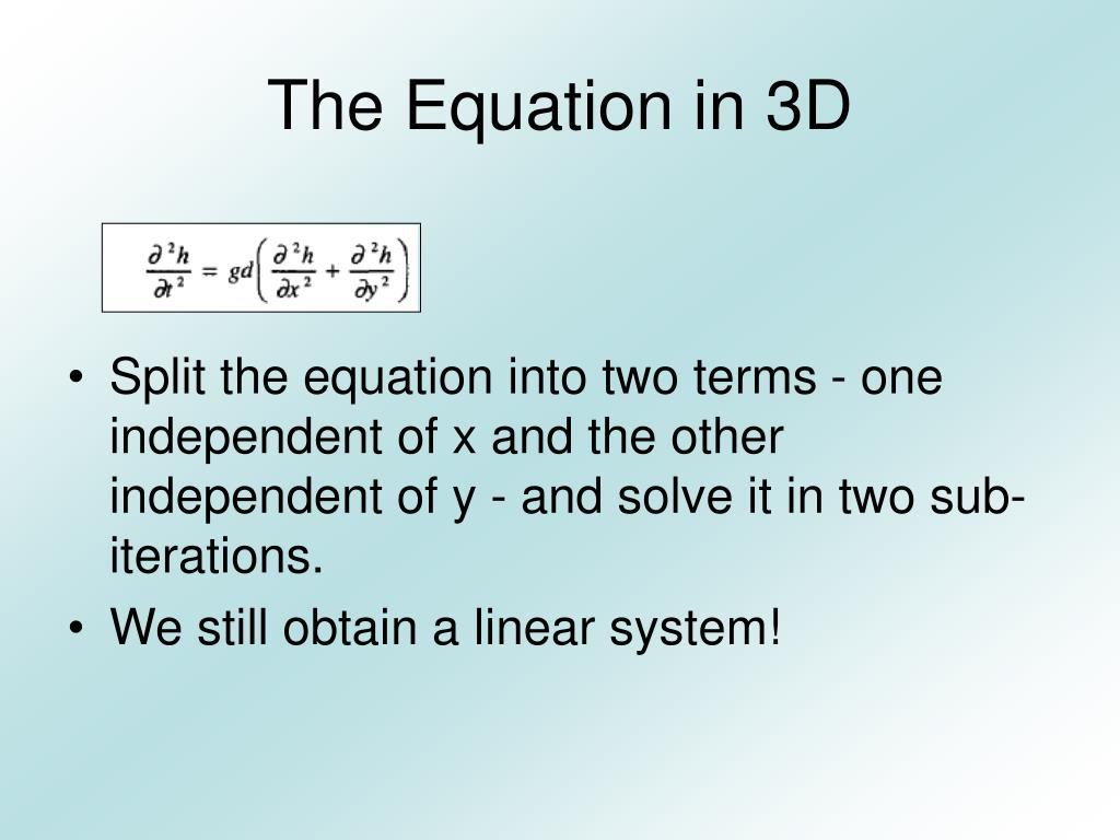 The Equation in 3D