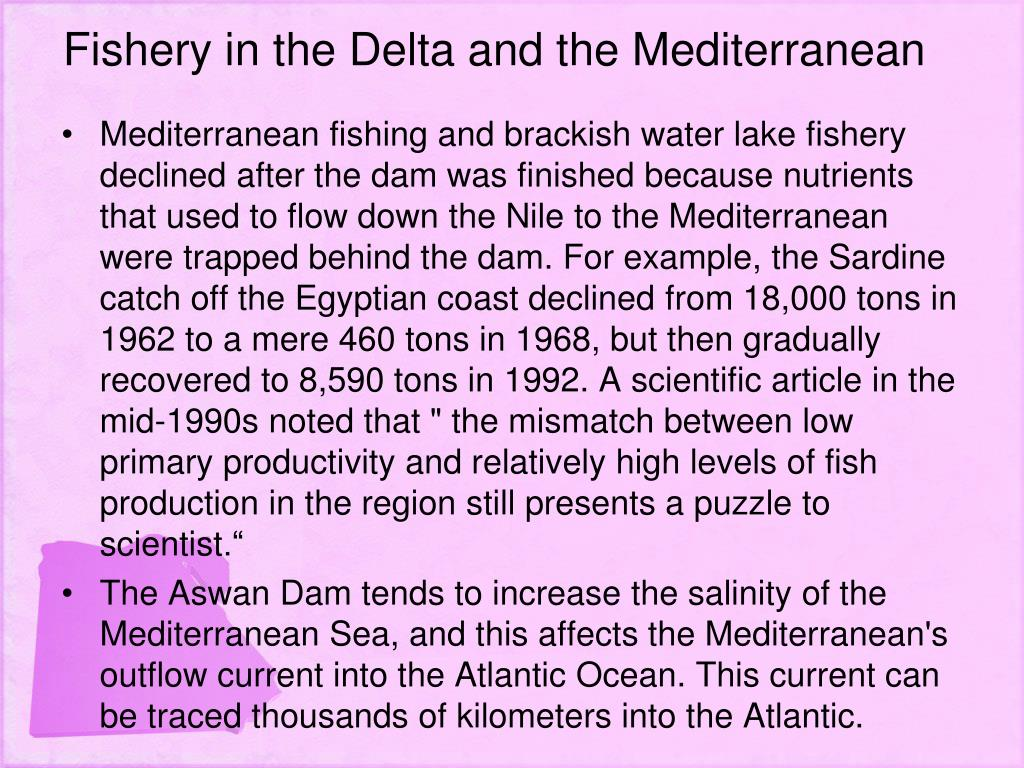 Fishery in the Delta and the Mediterranean