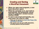 creating and saving a wordpad document