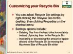 customizing your recycle bin