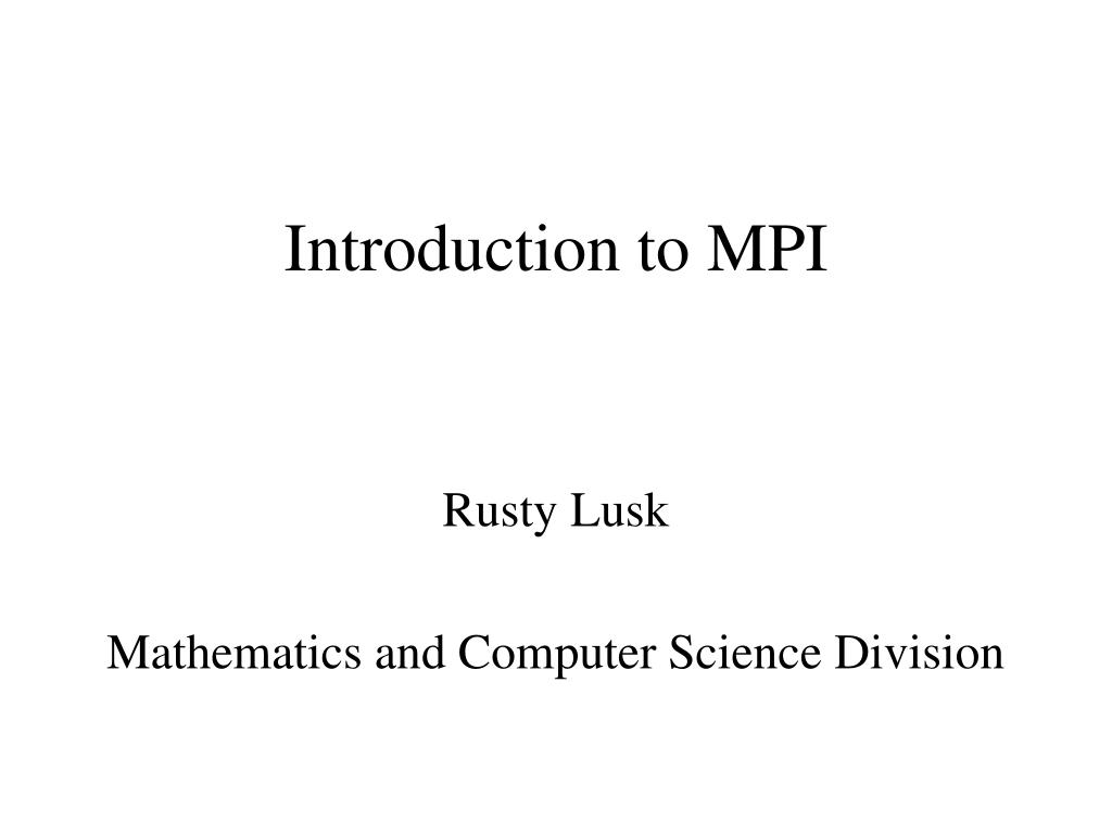 introduction to mpi l.