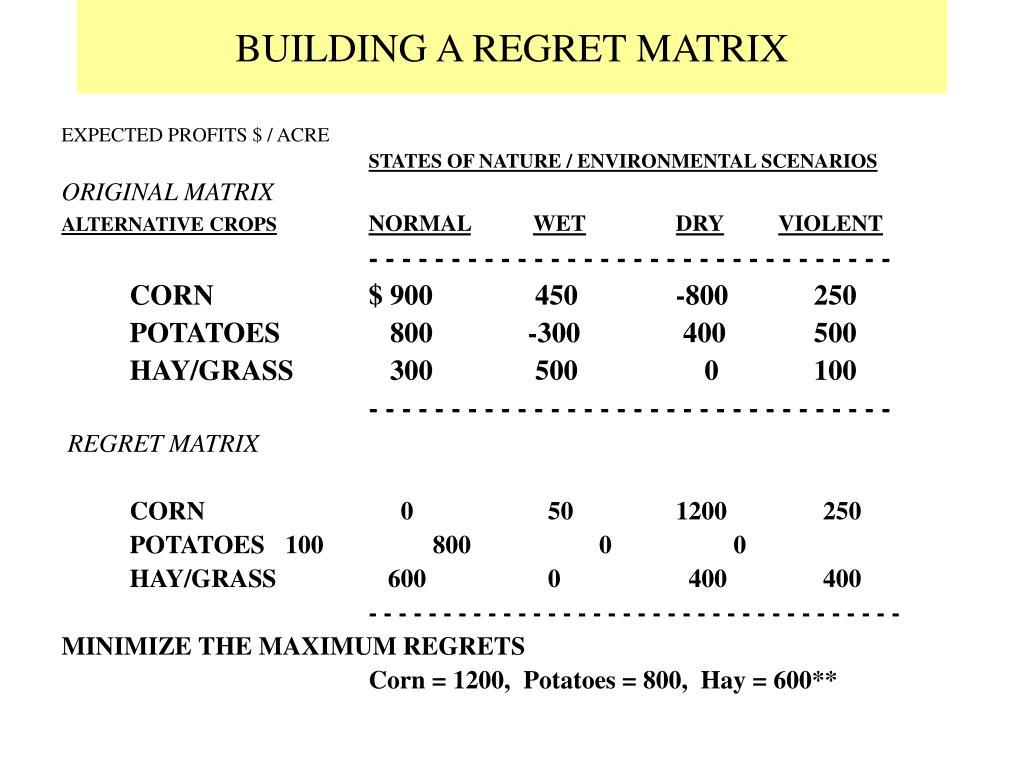 BUILDING A REGRET MATRIX