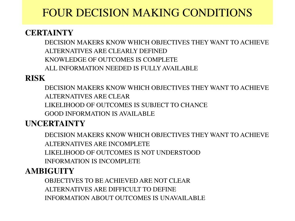 FOUR DECISION MAKING CONDITIONS