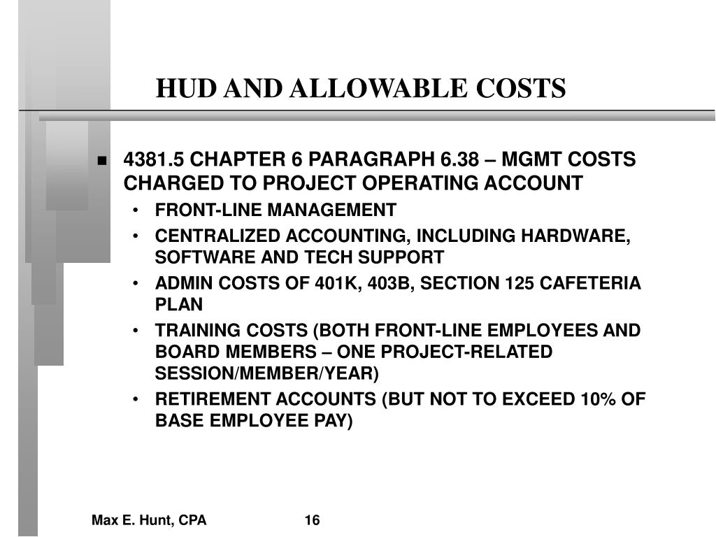 HUD AND ALLOWABLE COSTS