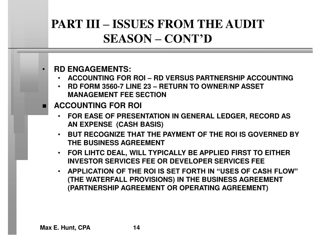 PART III – ISSUES FROM THE AUDIT SEASON – CONT'D