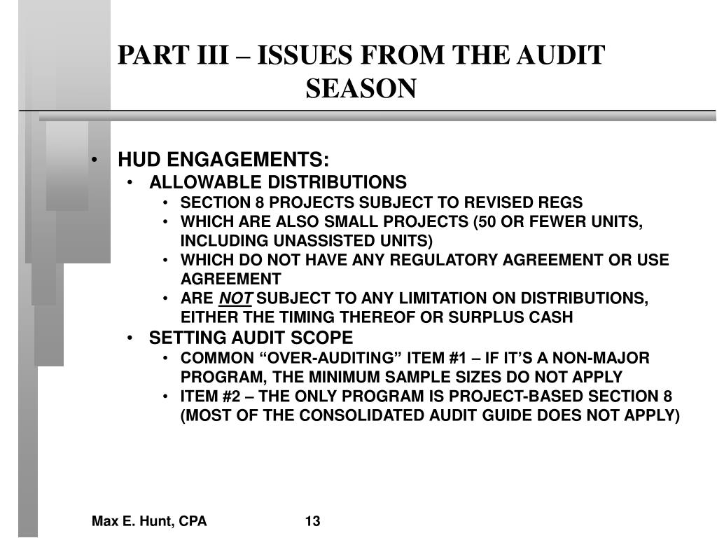 PART III – ISSUES FROM THE AUDIT SEASON