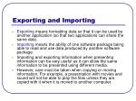 exporting and importing