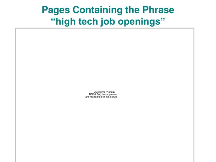 Pages containing the phrase high tech job openings