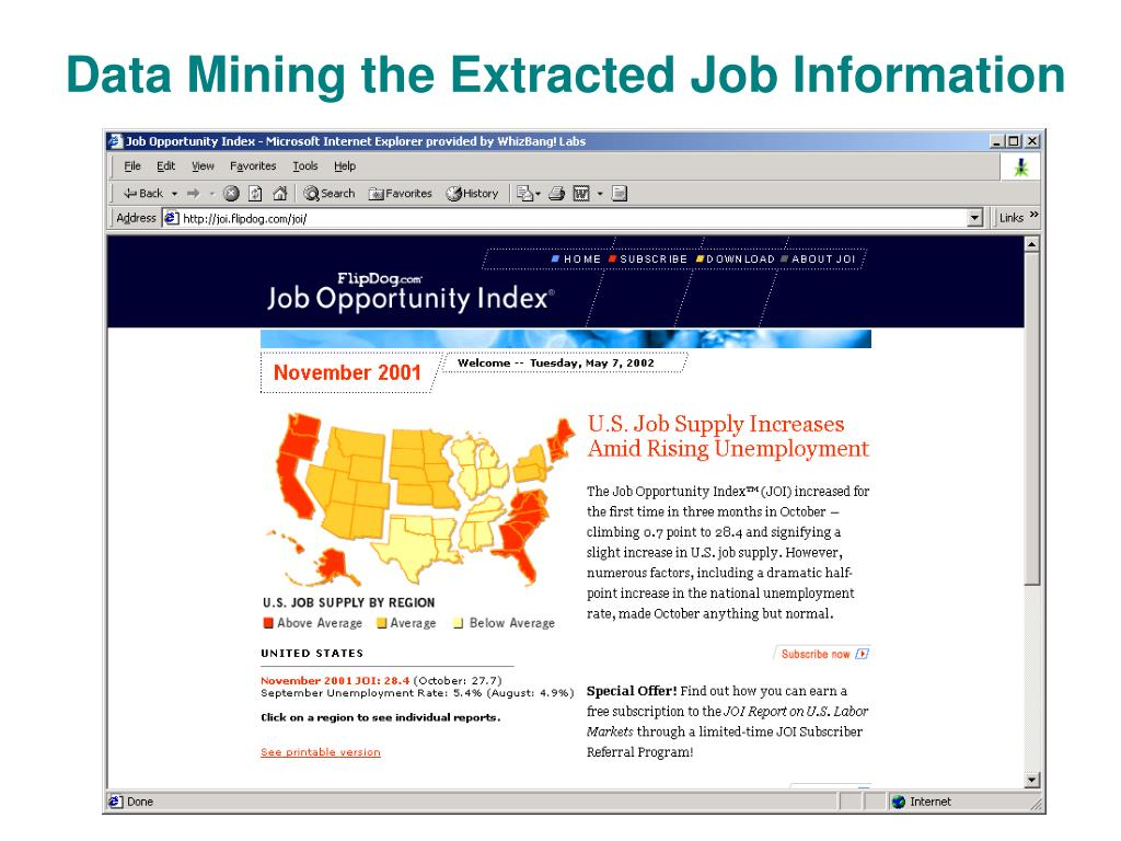 Data Mining the Extracted Job Information