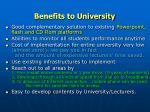 benefits to university