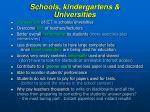 schools kindergartens universities