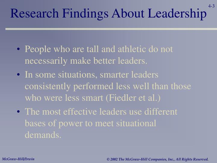 Research findings about leadership