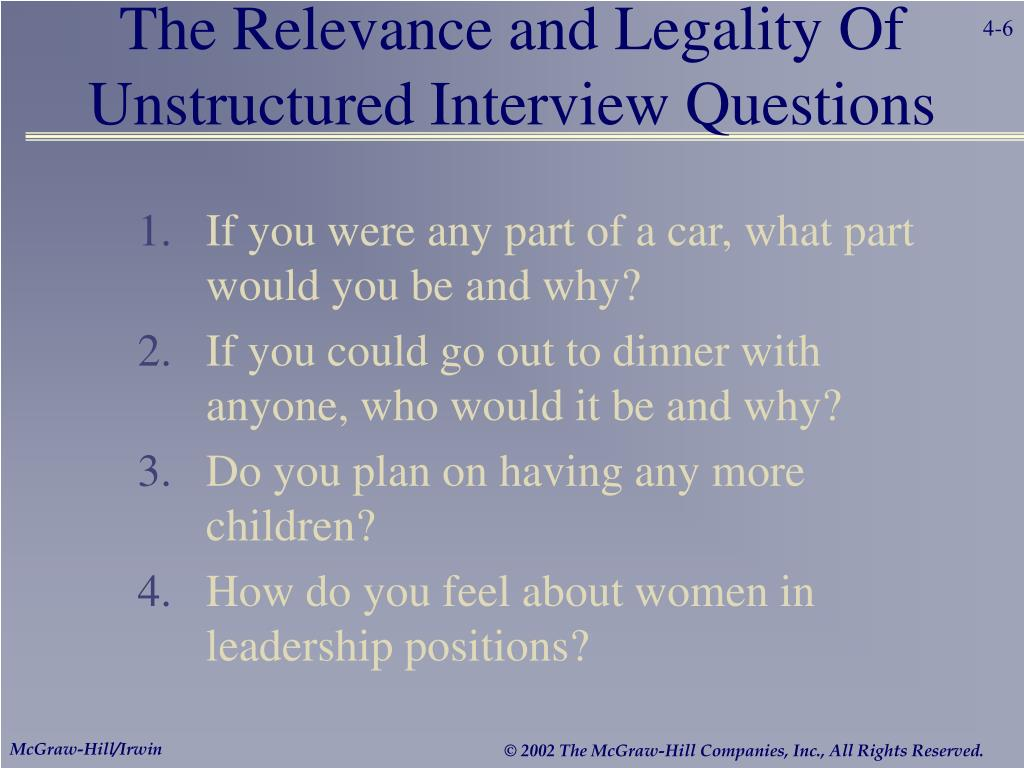 The Relevance and Legality Of Unstructured Interview Questions