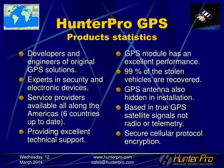 Hunterpro gps products statistics