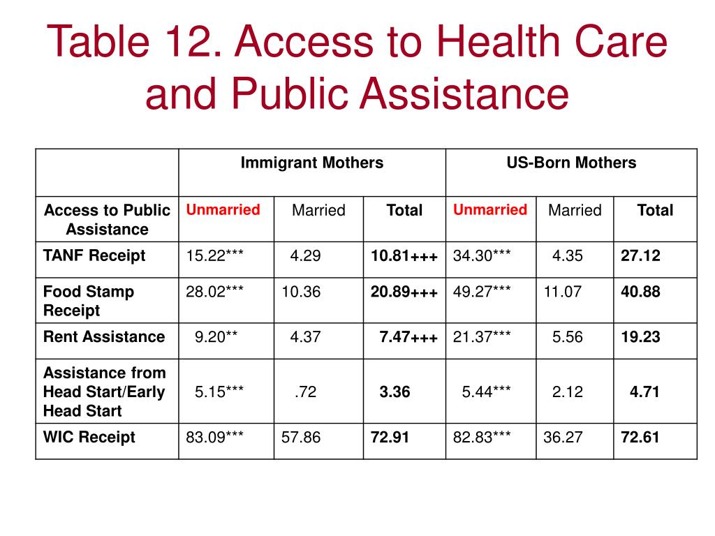 Table 12. Access to Health Care and Public Assistance