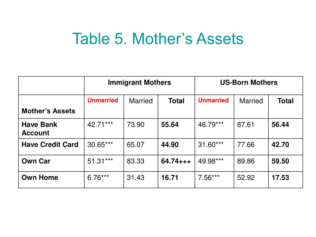Table 5. Mother's Assets