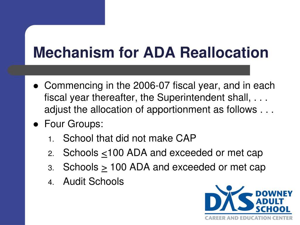 Mechanism for ADA Reallocation